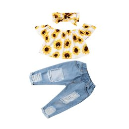 girls ripped shirts UK - Baby Summer Clothing Fashion Kids Baby Girl Off Shoulder Tops Sunflower Shirt Ripped Denim Jeans 3Pcs Outfits Set 6M-4T