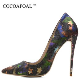 $enCountryForm.capitalKeyWord Australia - Cocoafoal Woman High Heels Bride Shoes Big Size 33 43 Valentine Shoes Stars Silver Gold Blue Green Red Sexy Pointed Toe Pumps