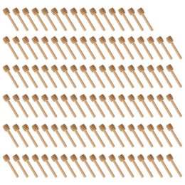 Wholesale Hot Sale 100 Pack Of Mini 3 Inch Wood Honey Dipper Sticks, Individually Wrapped, Server For Honey Jar Dispense Drizzle Honey,