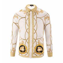 Wholesale 2019 new trend fashion Harajuku Medusa gold camisa hawaiana chain dog rose print shirt fashion retro floral sweater men s long sleeved shirt