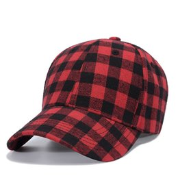 Black BaseBall caps online shopping - Red Black Plaid Ball Cap Mens Summer Adjustable Baseball Hat Fashion Cotton Sun Casquette Free LLA75