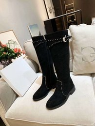 $enCountryForm.capitalKeyWord Australia - Women Designer Rivets Classic Fashion genuine leather long boots Brand Sexy over the knee chunky heels boots Chaussure Homme size 35-41