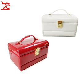 $enCountryForm.capitalKeyWord Australia - New 3 Drawer Luxury PU Jewelry Packaging Display Lock Box Ring Earring Necklace Jewelry Organizer Storage Carrying Case 3 Colors Available