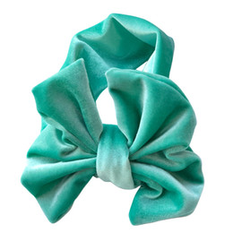 Big Hair Bands For Babies Australia - Beautiful Gifts For Grils Gold Velvet Baby Holiday Hair Ring Headwear Hair Accessories Cotton Stretch Children's Big Bow Hair Band