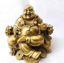 Asian Antiques Antiques Antique Tibet Bronze Gilt Happy Laugh Maitreya Buddha Coin Yuan Bao Gourd Statue Clients First