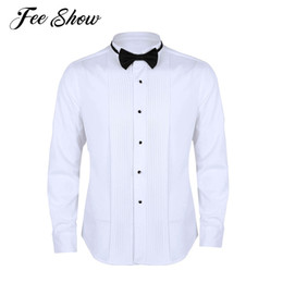White Chemise Dress Australia - 2019 Fashion Men Long Sleeve White Dress Shirt Chemise Homme Slim Fit Solid Color Casual Shirts Tuxedo Dress Shirts with Bow Tie