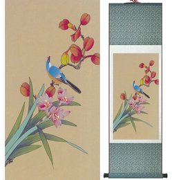 $enCountryForm.capitalKeyWord Australia - Wholesale Price Traditional Birds And Flower Painting Spring Ink Silk Scroll Birds And Flower Painting