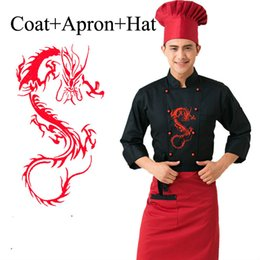 Service Clothes Australia - 3 Pcs Hotel Chef Uniform With Apron Hat Male Restaurant Kitchen Chinese Cooking Wear Dragon Cook Outfit Men Service Clothes 8