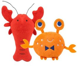 Smallest Toys Australia - Cartoon Lobster Crab Dog Squeaky Toys pawstrip 1pc Soft Plush Dog Toys Interactive Pet Puppy Toys For Small Dogs wang01