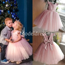 Holy dresses online shopping - Lovely Pink Flower Girls Dresses O Neck Ankle Length Pearl Back Bow Girls Frist Communion Dresses Holy Cheap Child Birthday Party Gowns