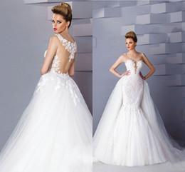 White Ivory Mermaid Wedding Australia - Vintage White Ivory Mermaid Wedding Dresses 2019 Cheap Detachable Train Boho Lace Tulle Long Bridal Gowns Custom Made