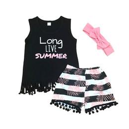 ea6edd471899 Ins Girls Outfits 2019 new Summer 3pcs Kids Sets tassels vest+shorts+bows  designer headband Girl Suit Children Suit kids clothes A4062