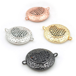 $enCountryForm.capitalKeyWord Australia - 19*15*4mm Micro Pave Black CZ Heart Relief Lumpy Convex Round Connectors Fit For Making Bracelets Or Necklaces Jewelry