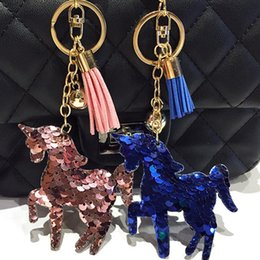 Gold Pink Rings For Women Australia - 2pcs lot Cute horse Keychain Glitter Mermaid Sequins Key Chain Gifts for Women Car Bag Pendant Accessories Key Ring Jewelery