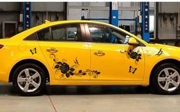 China 085 Dielianhua Butterfly Rose Car Sticker Lahua Decoration Car Sticker Modified Car Decal suppliers