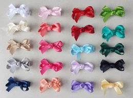 Baby Satin Hair Clips Australia - 20pcs mini hair accessories satin ribbon bows clips covered lined Double Prong Duckbill Alligator Hairpin Boutique Baby Girl headwear FJ3238