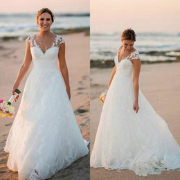Lace Dress Applique Details Australia - 2019 Stunning Country Lace Wedding Dresses Ball V-Neck Capped Spring Applique Plus Size Outdoor robe de mariée Bridal Gown For Bride Custom