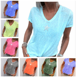 $enCountryForm.capitalKeyWord Australia - Summer Women T-shirt Short Sleeve V-neck Five-pointed Star T shirt Designer Solid Color Casual Blouse Loose Party Wear Shirts Clothings New