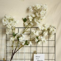 bulk vines UK - Slap-up artificial flower White and champagne Artificial cherry blossom wedding decoration silk flower sakura total length 100cm