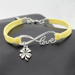Clover Chain Wholesale Australia - New Fashion 100% Braided Yellow Leather Suede Cuff Bracelet & Bangles For Men Women Infinity Love Four Leaf Clover Charm Male Female Jewelry