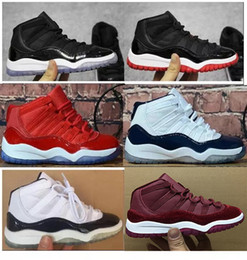 first rate a7735 da616 Kids 11 Basketball Shoes 72-10 Bred Concord GS Heiress Suede Maroon Gamma  Blue Pink 11s Sports Athletic Sneakers 28-35
