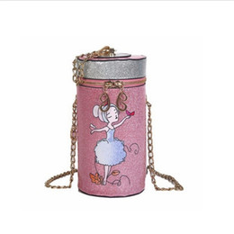 cups for printing Australia - Cylindrical Crossbody Bag For Women Cartoon Cup Chain Mini Shoulder Bag Sweet Lady Printing Girl Coin Purse