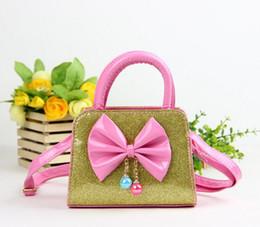 $enCountryForm.capitalKeyWord Australia - 13*7*8cm 25sets Bow Tie Messenger Bag Girls Cute Princess Beads Handbag Pink MINI Shoulder Bag Sequin Waterpoof Kids Handbags DHL B032