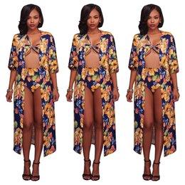 Long bikini swimwear online shopping - Women Sexy Piece Set Swimsuits Floral Sleeve Long Cardigan Cover Up Off Shoulder Bikini Outfits Summer Swimwear Beach Bathing Suits