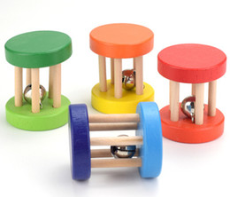Chinese  Funny Wooden Baby Kid Children Five-column rattle Toy Intellectual Developmental Educational Wooden Toys Spiral Rattles for Babies manufacturers