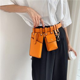 double phone pouch 2019 - Double Package Belt Bags Ladies Drop Waist Bag Women Solid Elegant Belt Wallet Phone Pouch Party Fanny Packs Pu Leather