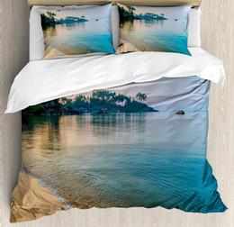 Relaxing Beds Australia - Ocean Duvet Cover Set Queen Size Morning Sun Rays Palm Trees The Edge Summer Beach Relax Calm Theme Decorative Bedding Set