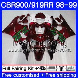 Cbr 919 Fairings Red Australia - Bodys For HONDA CBR 919RR CBR 900RR CBR919RR 1998 1999 278HM.37 CBR900RR CBR 919 RR CBR900 RR CBR919 RR 98 99 wine red glossy Fairing kit