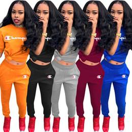 Wholesale womens sport shirt xl for sale – custom Champion Womens outfits short sleeve piece set tracksuit jogging sportsuit shirt short legging outfits long shorts sport suit klw0133