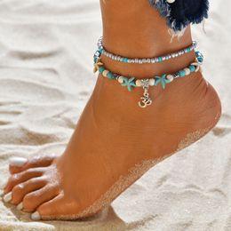 Sandals Pendant NZ - Tortoise Pendant Anklet Beads Starfish For Women Antique Silver Color Vintage Barefoot Sandal Statement Bracelet Foot Chain Boho Jewelry-P