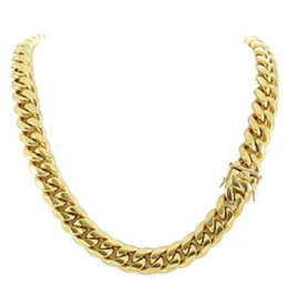 18k cuban chain UK - 14mm Men Cuban Miami Link Chain 18k Gold Plated Stainless Steel 270 Grams HEAVY