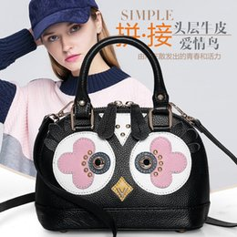 bag shells Australia - Lady bags Shoulder Bags package Color Collision Leather Female Package Shell Love Birds Series Slanting Small Baotou Layer Cowhide Handbag