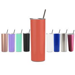 Ingrosso 20 OZ Bicchieri alti e magri con cannuccia in acciaio inossidabile Bicchieri multicolori Tazza da viaggio Bicchiere da bere Agitare Bicchiere Bicchiere isolato