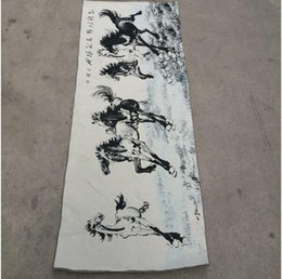 $enCountryForm.capitalKeyWord Australia - Horse to success China old silk Thangka like hanging painting embroidery painting 150x60cm