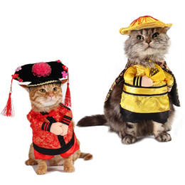 $enCountryForm.capitalKeyWord Australia - 2019 New Year Costume Cat Clothes Chinese Tang Suit Cat Coat Funny Standing Emperor Princess Role Playing Party Pet Clothes 10A