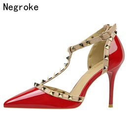 298d13ec207fc Designer Dress Shoes Women Sandals Sexy Ankle Strap Rivets Stiletto Pumps  Pointed Toe Hollowed Out Thin High Heels Woman 2019 Spring