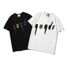 Wholesale mens sequin clothing resale online - Men Women Clothing Mens Summer Brand T Shirt with Sequins Letter Short sleeve Shirt Casual Tees Size S XXL