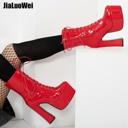 Purple Martin Boots Australia - Red 2019 New 15CM High Heeled Chunky Women Ankle Boots Platform Lace-Up Pointed Toe Square Block Heel Short Martin Boots Ladies Show Shoes