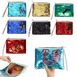 glitter makeup pens NZ - Mermaid Sequins Envelope Bag Cosmetic Bags Makeup Storage Bags Handbag Pen Pencil Bag Glitter Coin Wallet Zipper Clutch Pouch Evening Party
