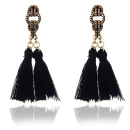 asian style tassels NZ - 2018 new antique Gold-color dangle earrings with cotton tassel Ethnic style Bull skull tauren taurus charms long earrings e0236