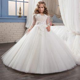 $enCountryForm.capitalKeyWord Australia - Lace Applique Kids TUTU Flower Girl Dresses Party Prom Princess Gown Bridesmaid Wedding Formal Occasion Dress