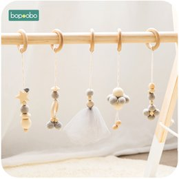 baby rattles Australia - Bopoobo 5pc set Baby Rattle Wooden Crib Mobile Kapok Flower Hanging Decor Chewable Teether Toys BPA Free Baby Teething Products T200429