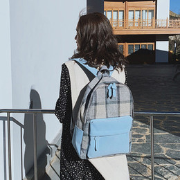 plaid backpacks 2019 - Preppy Style Canvas Backpack For Women Leisure School Bag Tote For Teen Girl Shoulder Bag Simple Youth Travel Plaid Back