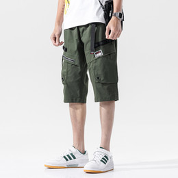 Wholesale cargo shorts big men for sale – plus size Casual Loose Cargo Short Men Straight Elastic Waist Knee Length Men s Summer Shorts With Big Pockets Cotton Breathable Beachwear T200422