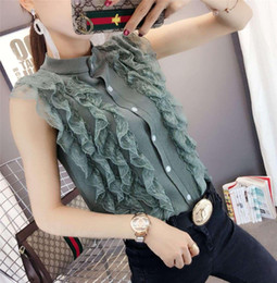 sweet lace women cardigan NZ - Hot Summer Ruffled Lace Stitching Knit Sleeveless Cardigan Women Slim Fit Sweet Solid Summer Jumper Tops