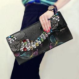 Discount diamond chain bag - Vintage Style Flower Pattern Diamonds Clutch Wallet Genuine Leather Cowhide Split Leather Chain Envelope Crossbody Shoul